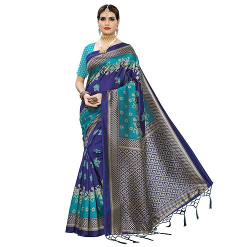 Captivating Blue Colored Festive Wear Floral Printed Art Silk Saree With Tassel
