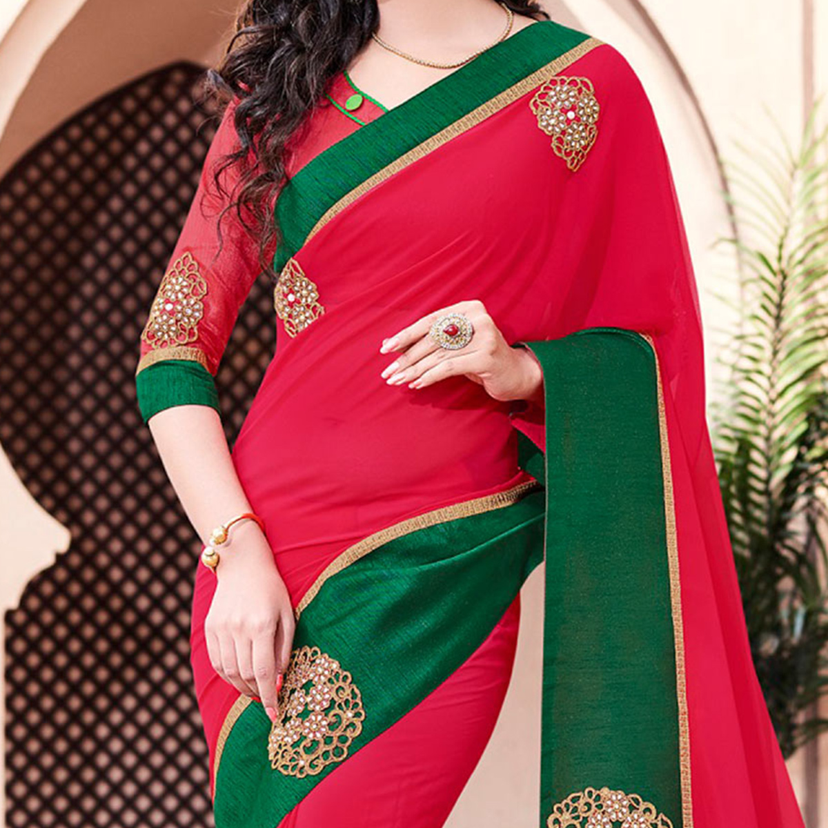Red - Green Patch Work Georgette Saree