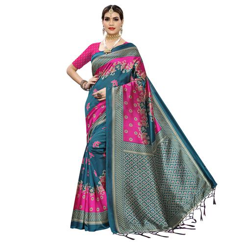 Engrossing Rama Blue Colored Festive Wear Floral Printed Art Silk Saree With Tassel