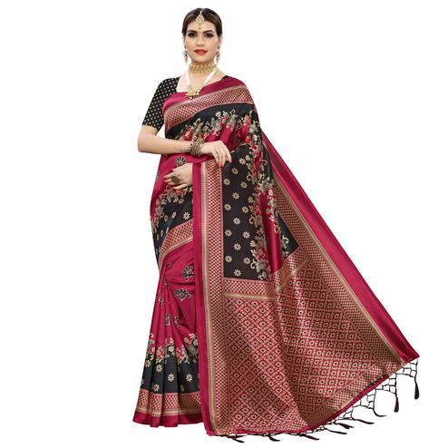 Jazzy Dark Pink Colored Festive Wear Floral Printed Art Silk Saree With Tassel