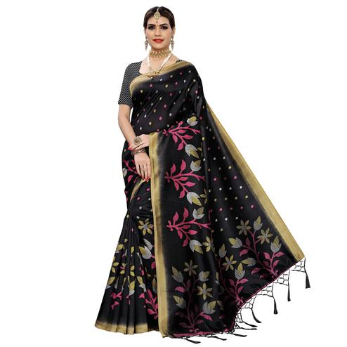 Radiant Black Colored Festive Wear Floral Printed Art Silk Saree With Tassel