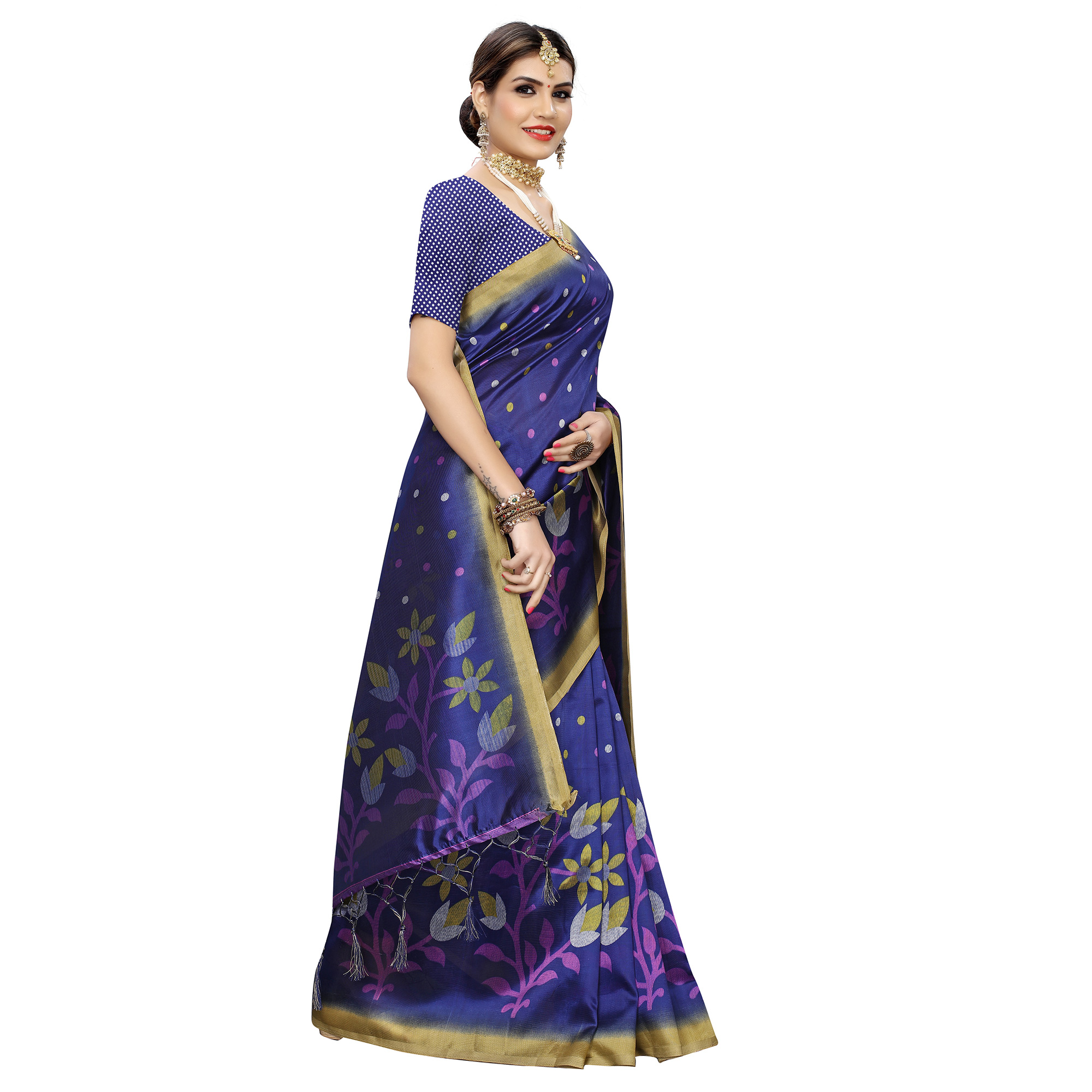 Pleasant Royal Blue Colored Festive Wear Floral Printed Art Silk Saree With Tassel