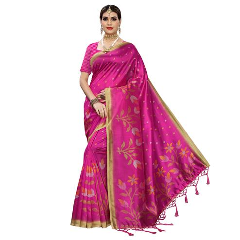 Opulent Rani Pink Colored Festive Wear Floral Printed Art Silk Saree With Tassel