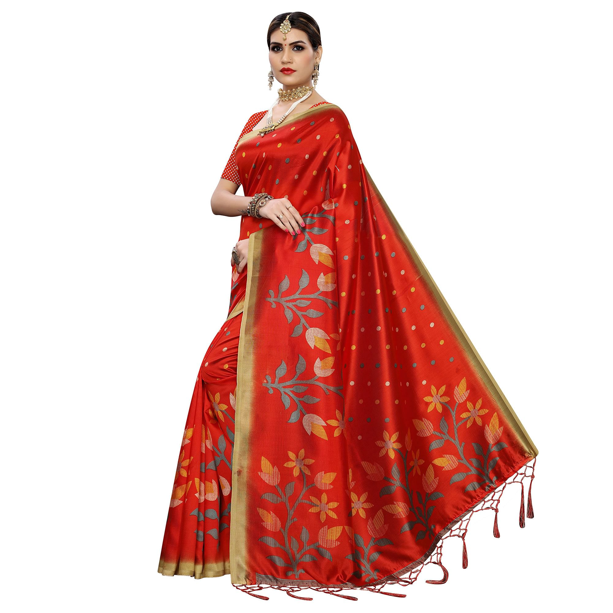 Energetic Red Colored Festive Wear Floral Printed Art Silk Saree With Tassel