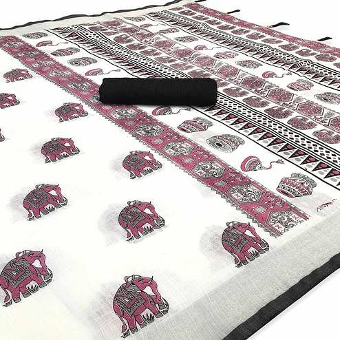 Graceful White-Black Colored Casual Digital Elephant Printed Linen Saree