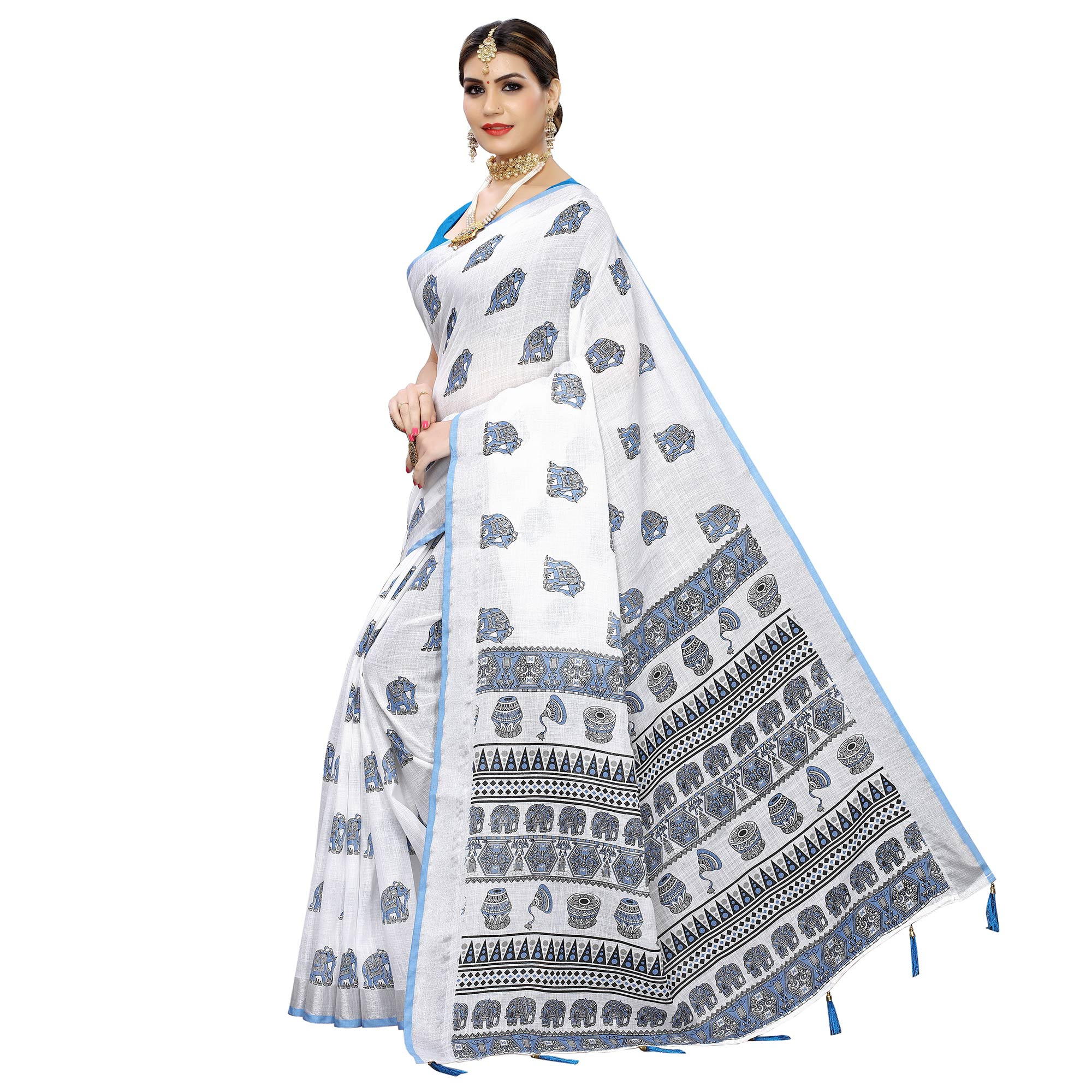 Blooming White-Blue Colored Casual Digital Elephant Printed Linen Saree