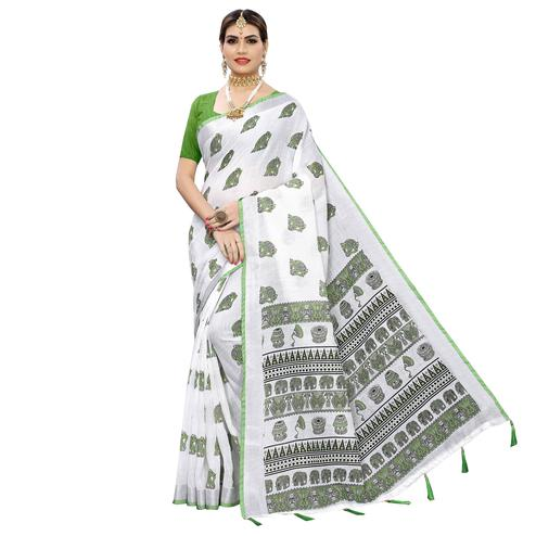 Charming White-Green Colored Casual Digital Elephant Printed Linen Saree