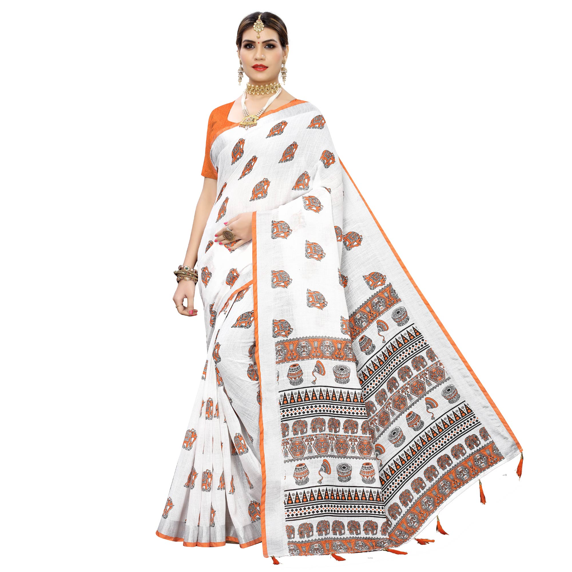 Jazzy White-Orange Colored Casual Digital Elephant Printed Linen Saree