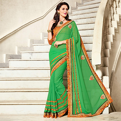 Green Patch Work Georgette Saree