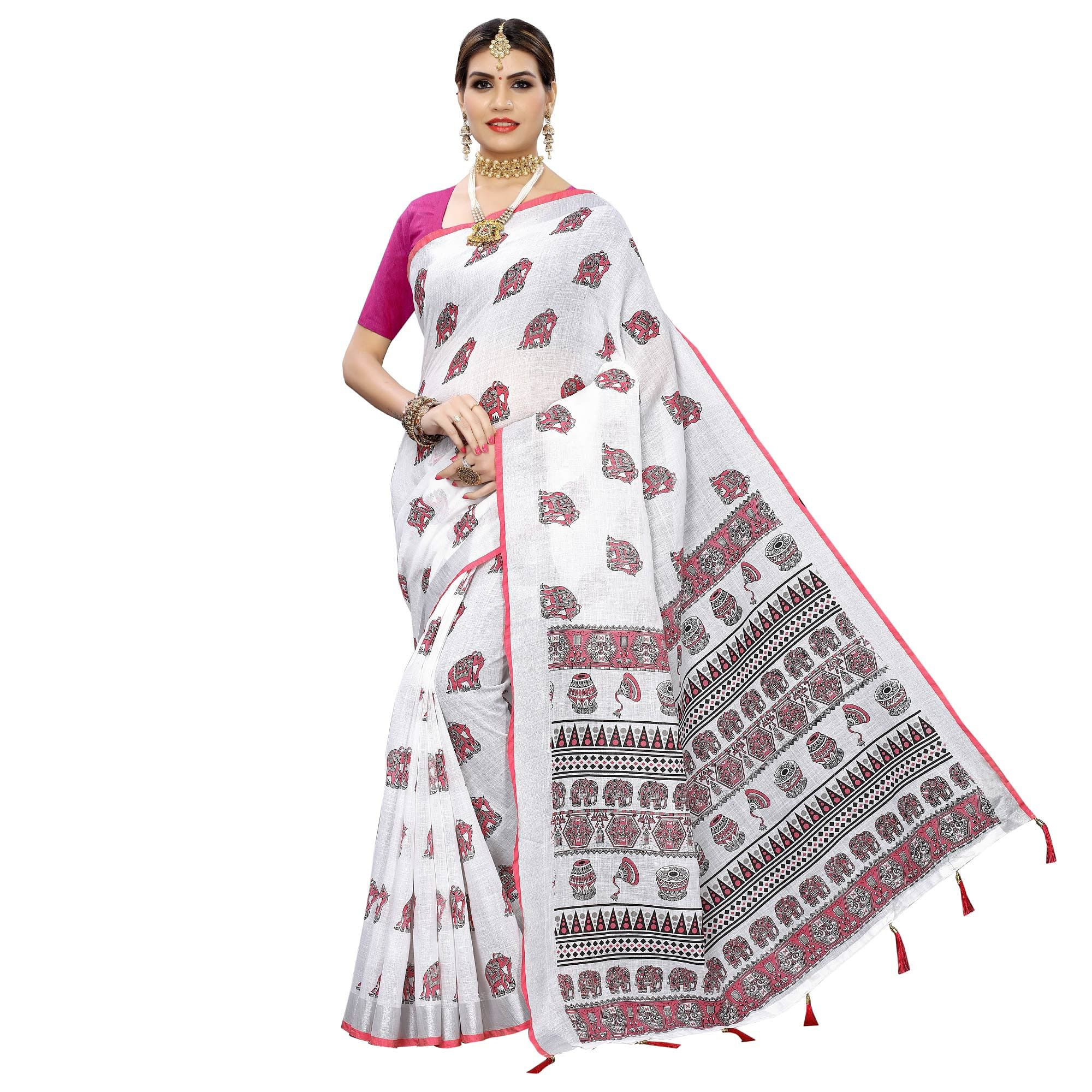 Delightful White-Pink Colored Casual Digital Elephant Printed Linen Saree
