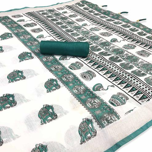 Engrossing White-Rama Colored Casual Digital Elephant Printed Linen Saree