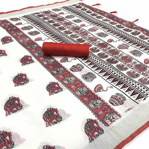 Adorable White-Red Colored Casual Digital Elephant Printed Linen Saree