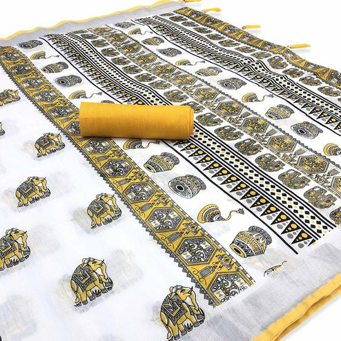 Arresting White-Yellow Colored Casual Digital Elephant Printed Linen Saree