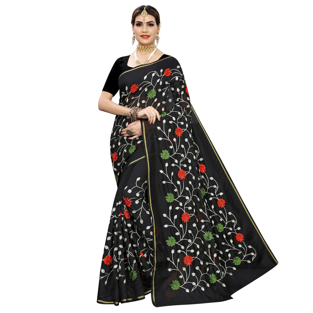 Gleaming Black Colored Partywear Embroidered Chanderi Silk Saree