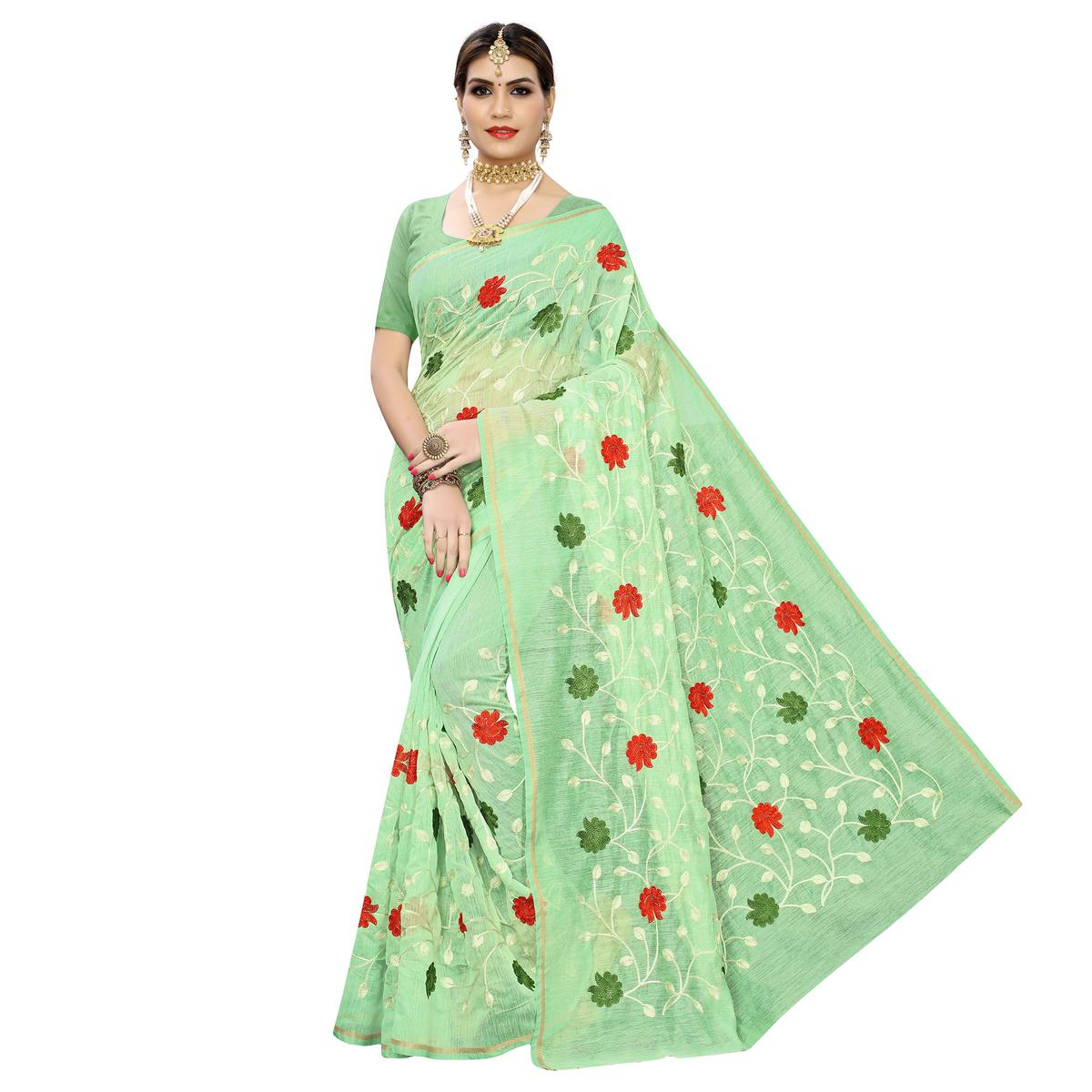 Fantastic Green Colored Partywear Embroidered Chanderi Silk Saree