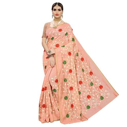 Amazing Peach Colored Partywear Embroidered Chanderi Silk Saree