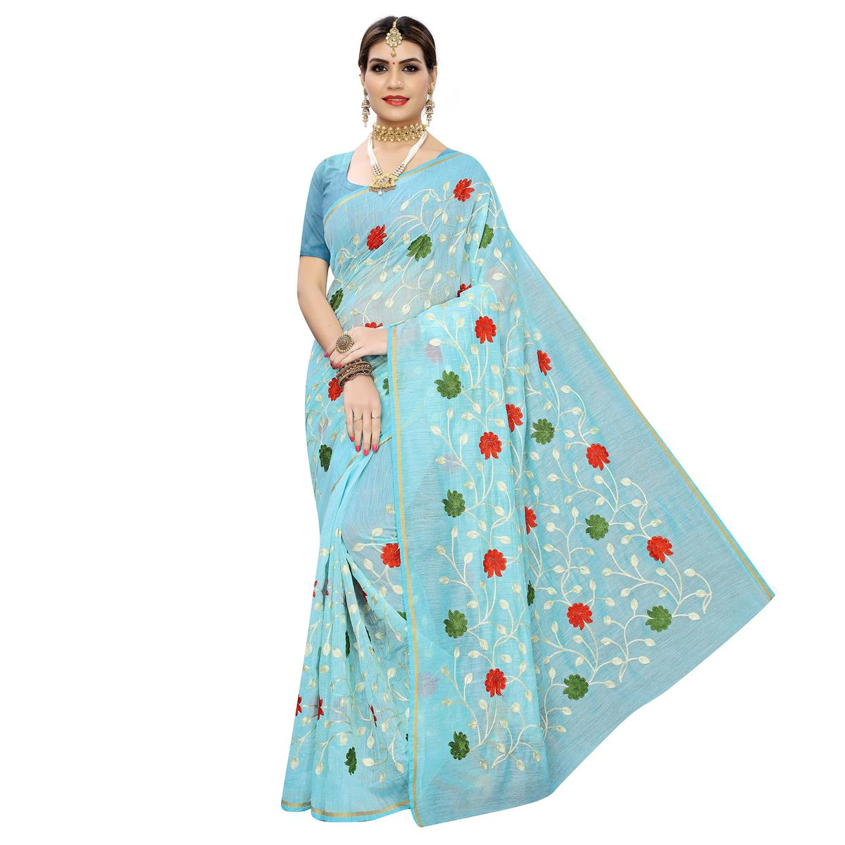 Mesmeric Blue Colored Partywear Embroidered Chanderi Silk Saree