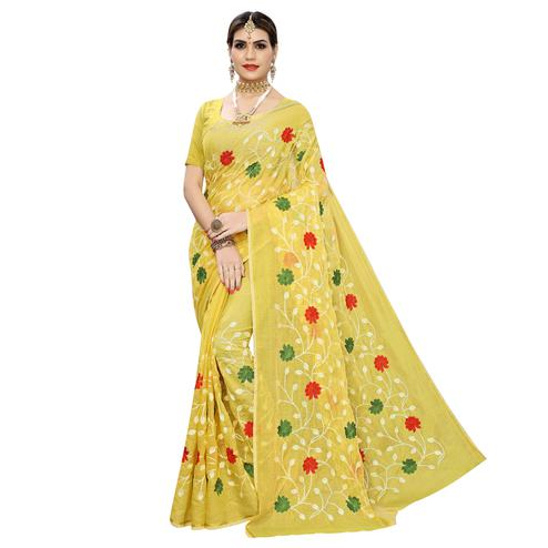Unique Yellow Colored Partywear Embroidered Chanderi Silk Saree