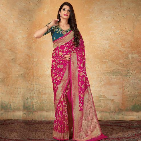Intricate Pink Colored Festive Wear Woven Banarasi Silk Saree