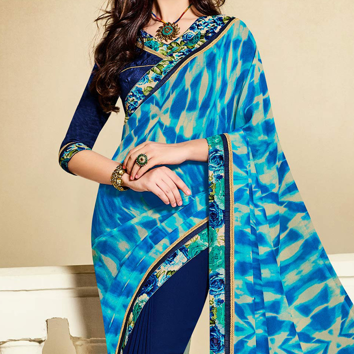 Blue Georgette Half & Half Saree