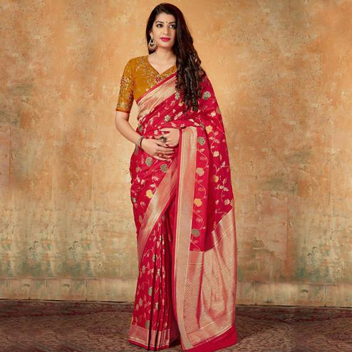 Arresting Red Colored Festive Wear Woven Banarasi Silk Saree