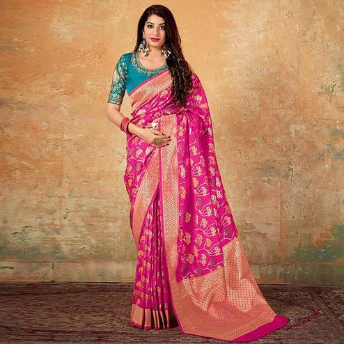 Desirable Pink Colored Festive Wear Woven Banarasi Silk Saree