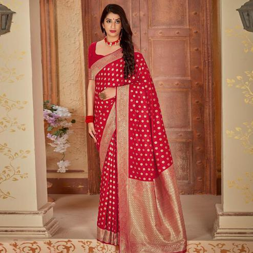 Groovy Red Colored Festive Wear Woven Banarasi Silk Saree