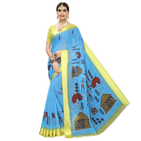 Jazzy Blue Colored Casual Digital Warli Printed Linen Saree