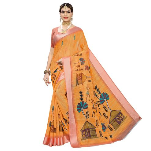 Engrossing Orange Colored Casual Digital Warli Printed Linen Saree