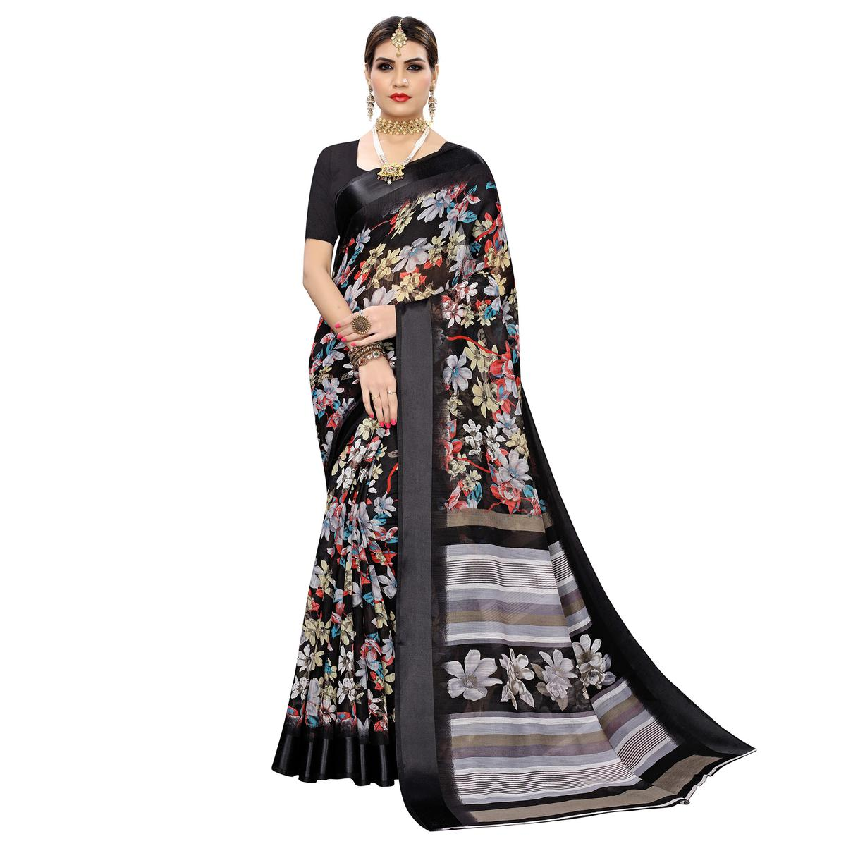 Lovely Black Colored Casual Digital Floral Printed Linen Saree