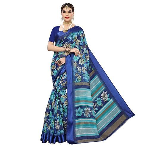 Majesty Blue Colored Casual Digital Floral Printed Linen Saree