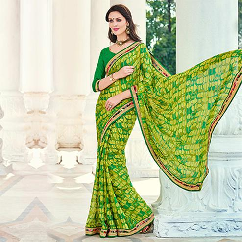 Green Moss Chiffon Party Wear Saree