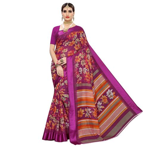 Ideal Pink Colored Casual Digital Floral Printed Linen Saree