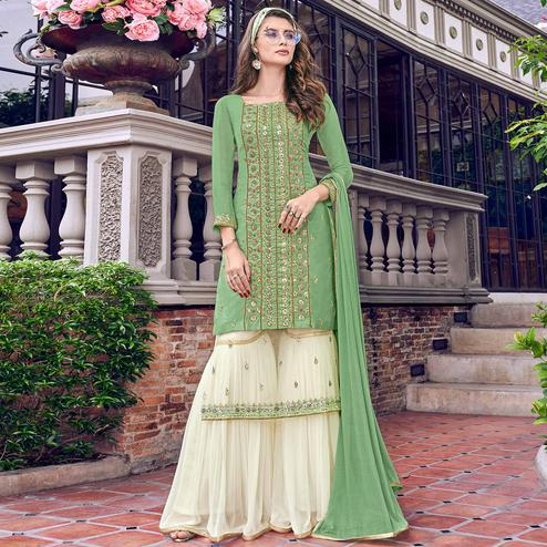 Glorious Green Colored Party Wear Embroidered Tussar Silk-Satin Palazzo Suit