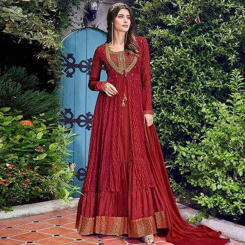 Beautiful Maroon Colored Party Wear Embroidered Silk Anarkali Suit With Jacket