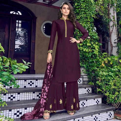 Jazzy Wine Colored Party Wear Embroidered Silk Palazzo Suit