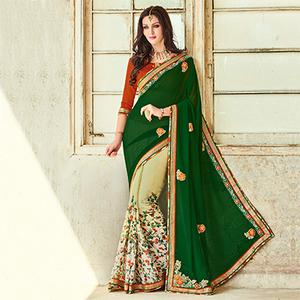 Green - Off White Half & Half Saree