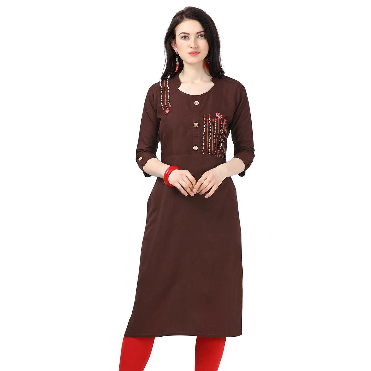 Captivating Brown Colored Partywear Embroidered Rayon Kurti