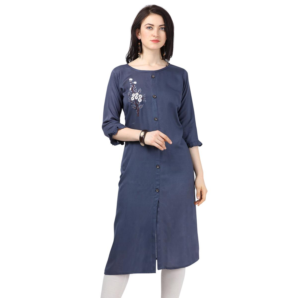 Innovative Blue Colored Partywear Embroidered Rayon Kurti
