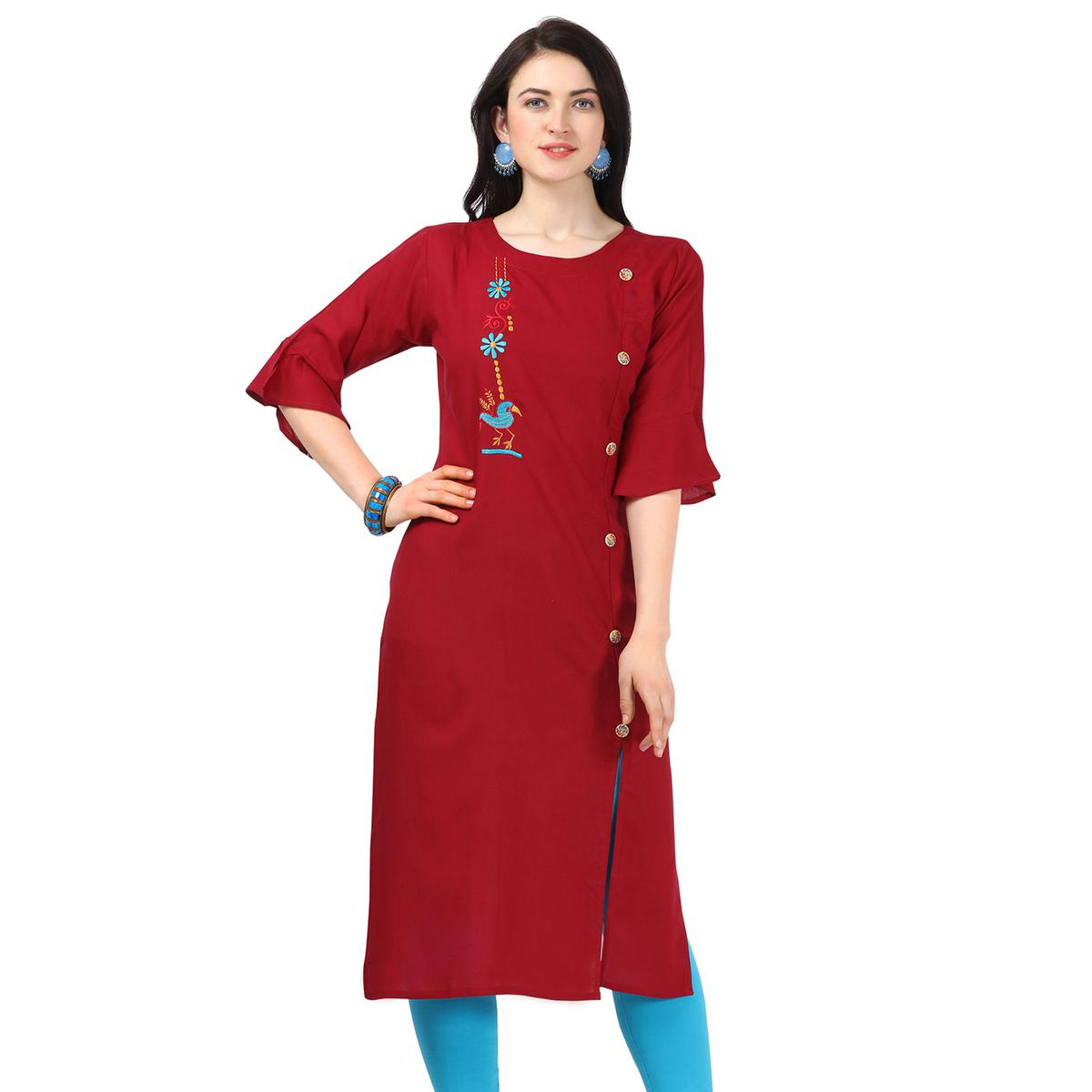 Eye-catching Maroon Colored Partywear Embroidered Rayon Kurti