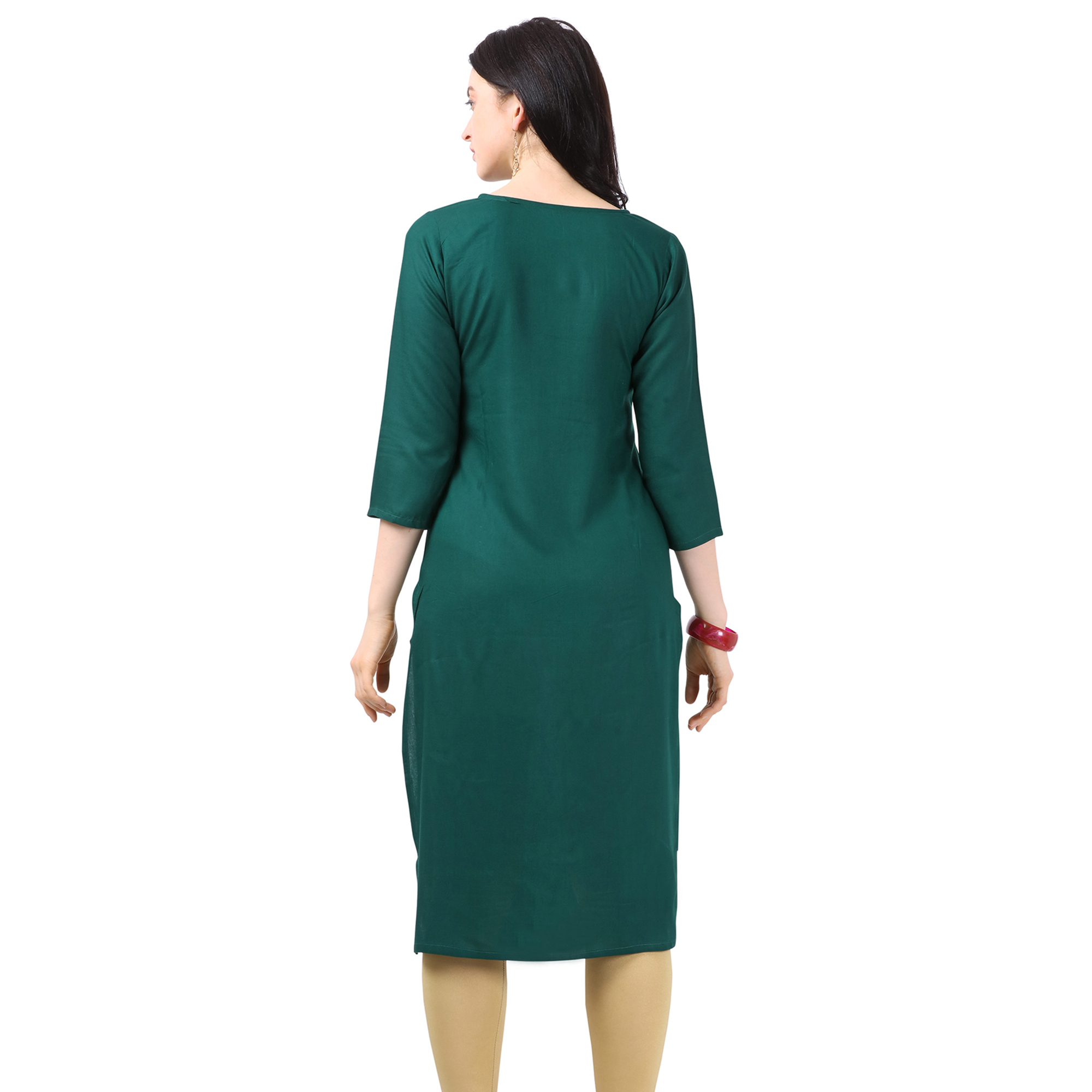 Ideal Green Colored Partywear Embellished Rayon Kurti