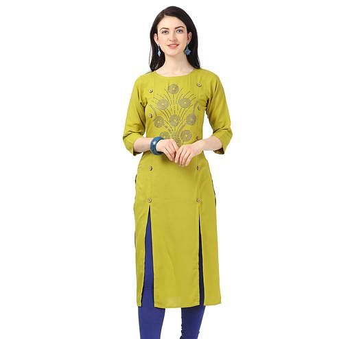 Imposing Lime Green Colored Partywear Embellished Rayon Kurti