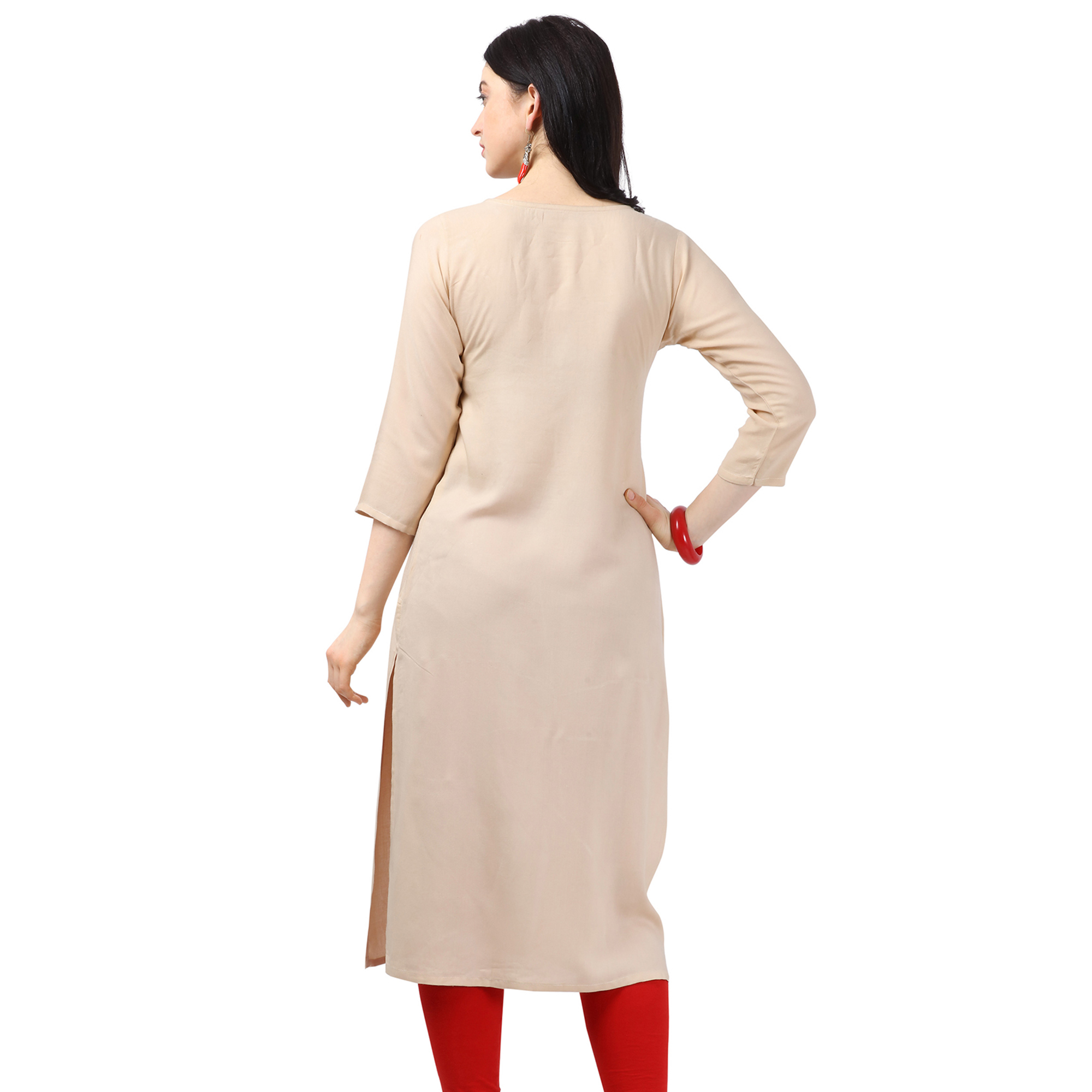 Lovely Beige Colored Partywear Embellished Rayon Kurti