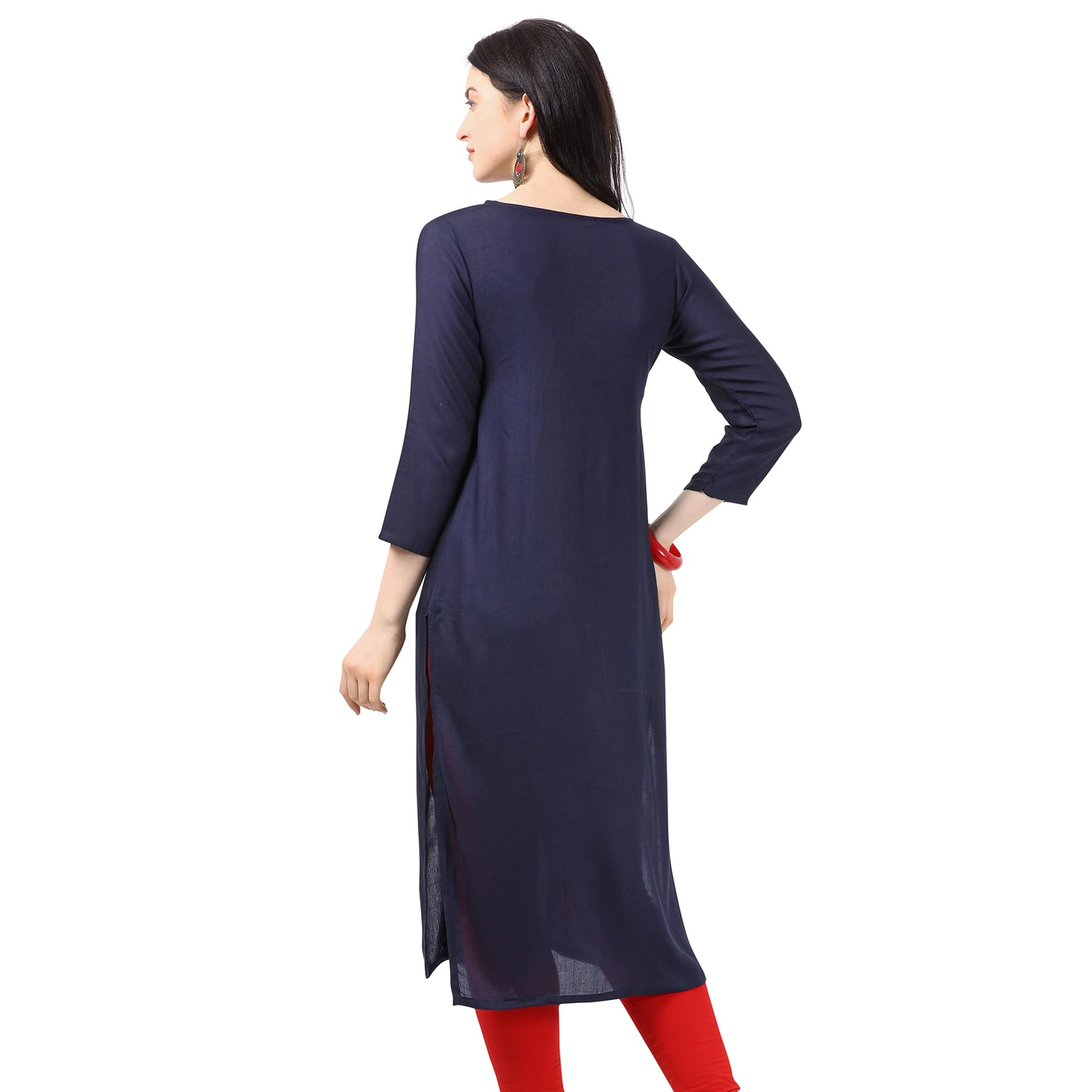 Majesty Navy Blue Colored Partywear Embellished Rayon Kurti