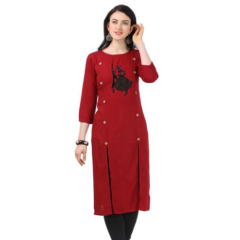 Impressive Maroon Colored Partywear Embellished Rayon Kurti