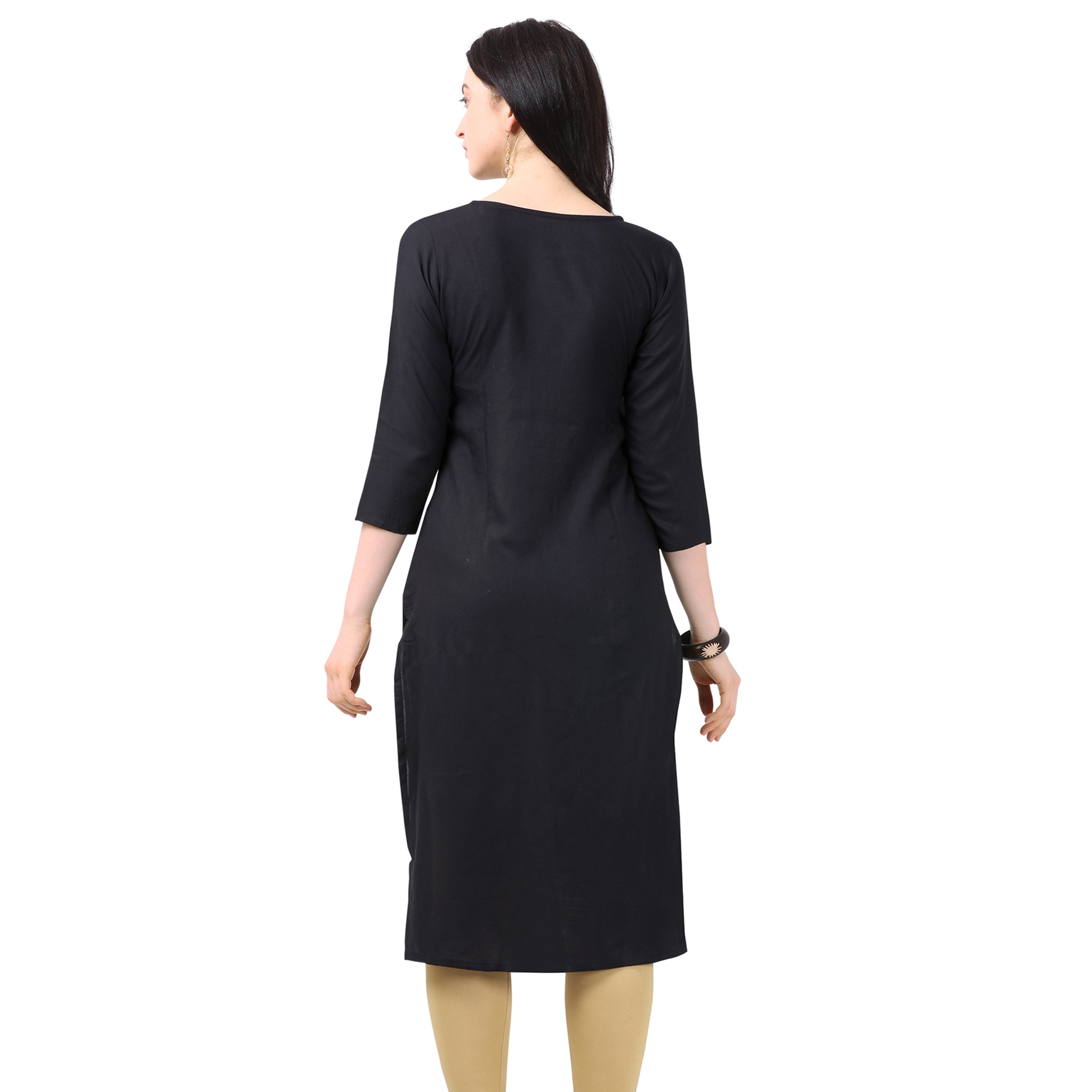Mesmerising Black Colored Partywear Embellished Rayon Kurti