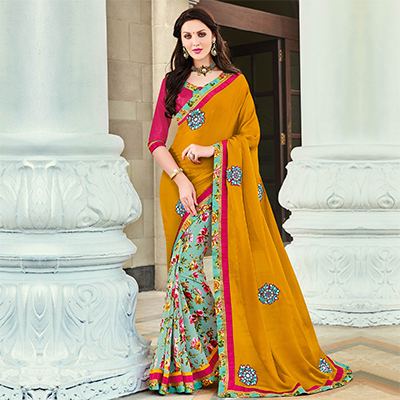 Yellow - Cyan Half & Half Saree