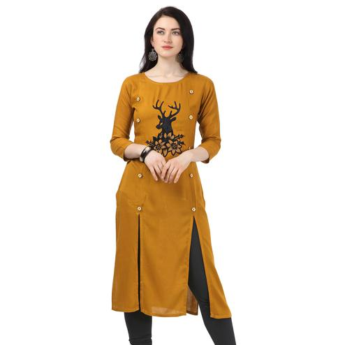 Pleasance Mustard Yellow Colored Partywear Embellished Rayon Kurti