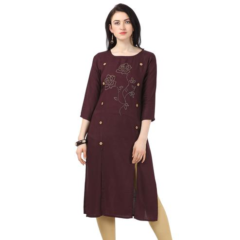 Breathtaking Wine Colored Partywear Embellished Rayon Kurti