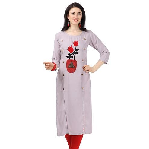 Ethnic Light Purple Colored Partywear Embellished Rayon Kurti